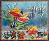 """Bath tiles, mosaic murals, unique hand painted bath tiles for bath and shower wall decor, hand painted in the Mediterranean."""
